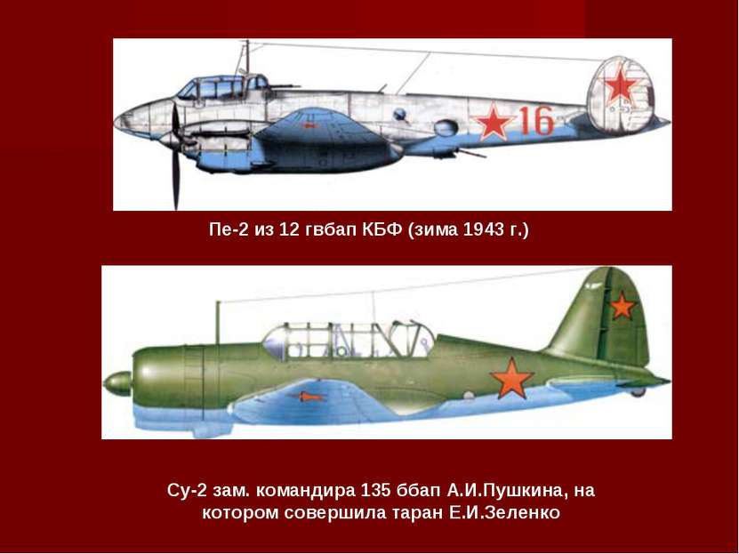 Пе-2 из 12 гвбап КБФ (зима 1943 г.) Су-2 зам. командира 135 ббап А.И.Пушкина,...