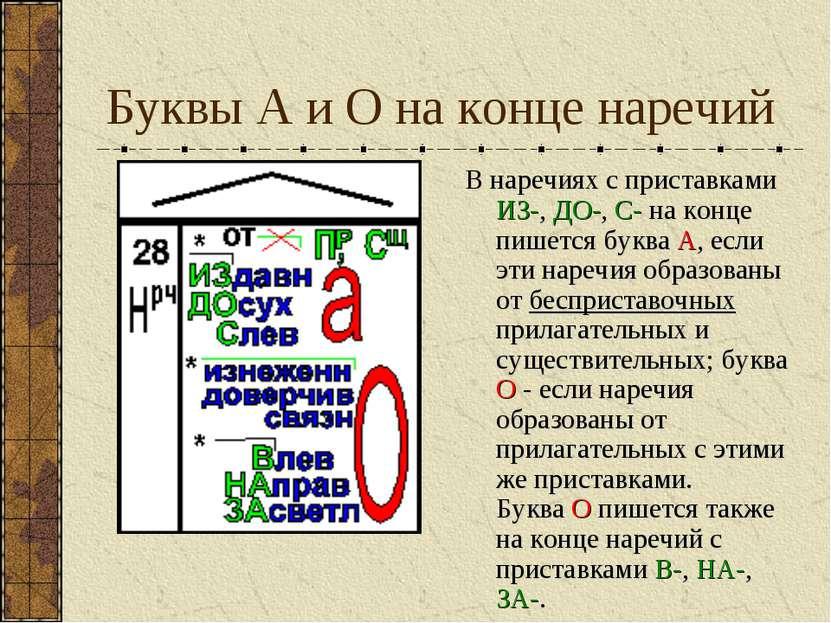 Буквы А и О на конце наречий В наречиях с приставками ИЗ-, ДО-, С- на конце п...