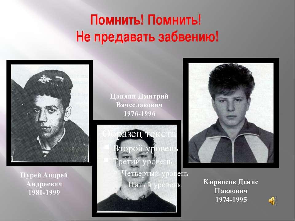 Помнить! Помнить! Не предавать забвению! Кирносов Денис Павлович 1974-1995 Пу...