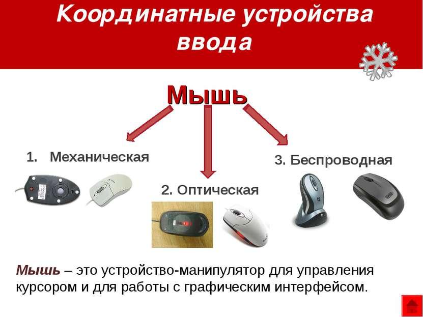 Координатные устройства ввода Механическая 2. Оптическая 3. Беспроводная Мышь...