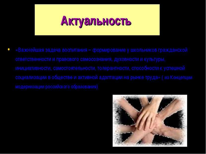 Актуальность «Важнейшая задача воспитания – формирование у школьников граждан...