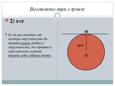 Возможны три случая: 2) s=r Если расстояние от центра окружности до прямой ра...