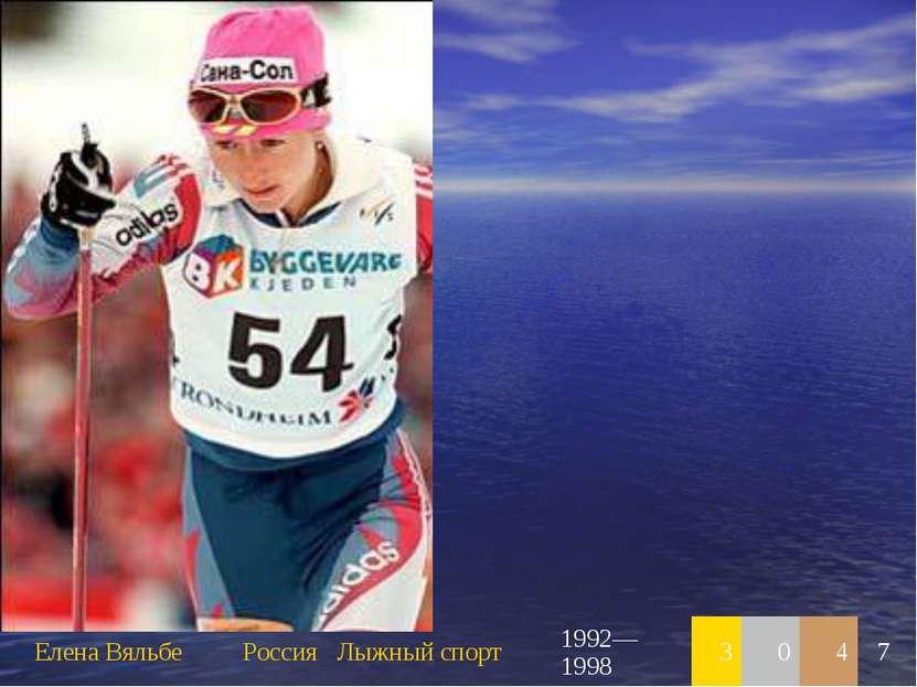 Елена Вяльбе Россия Лыжный спорт 1992—1998 3 0 4 7
