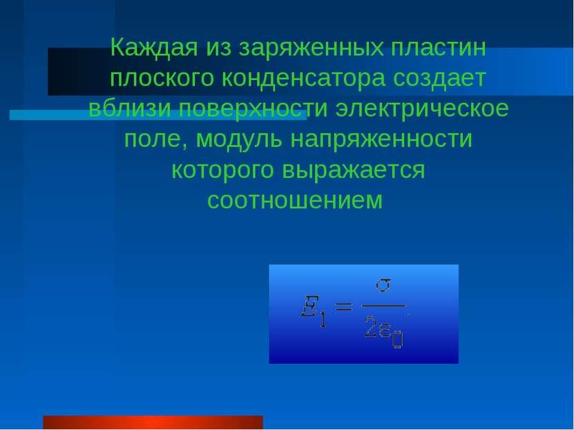 Каждая из заряженных пластин плоского конденсатора создает вблизи поверхности...