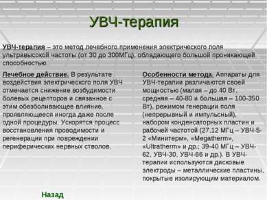 УВЧ-терапия УВЧ-терапия – это метод лечебного применения электрического поля ...