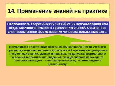 14. Применение знаний на практике Безусловное обеспечение практической направ...