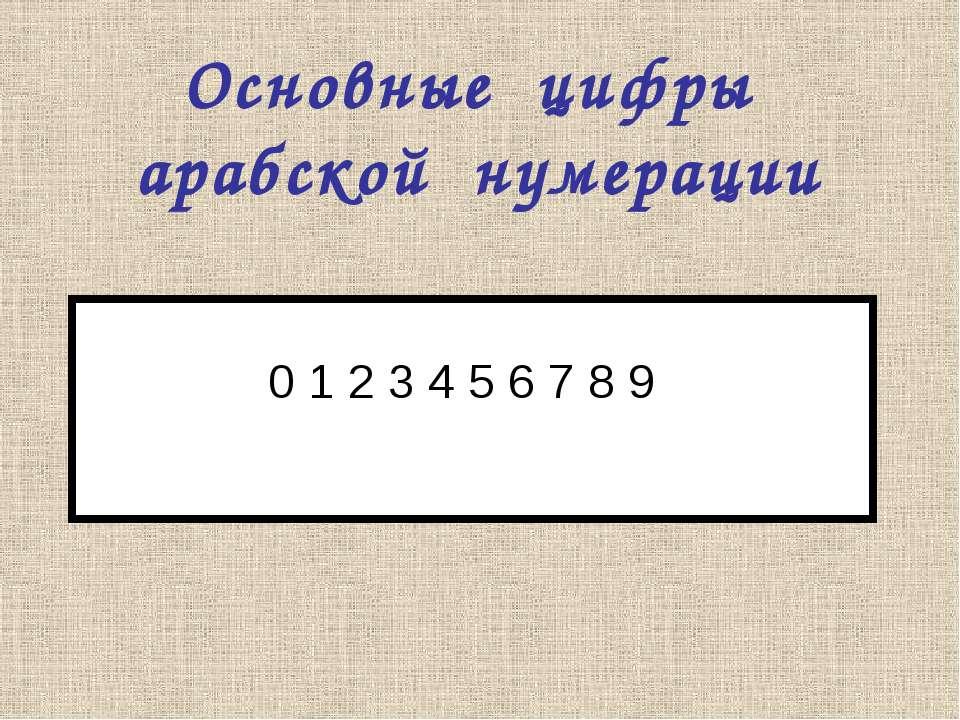 0 1 2 3 4 5 6 7 8 9 Основные цифры арабской нумерации