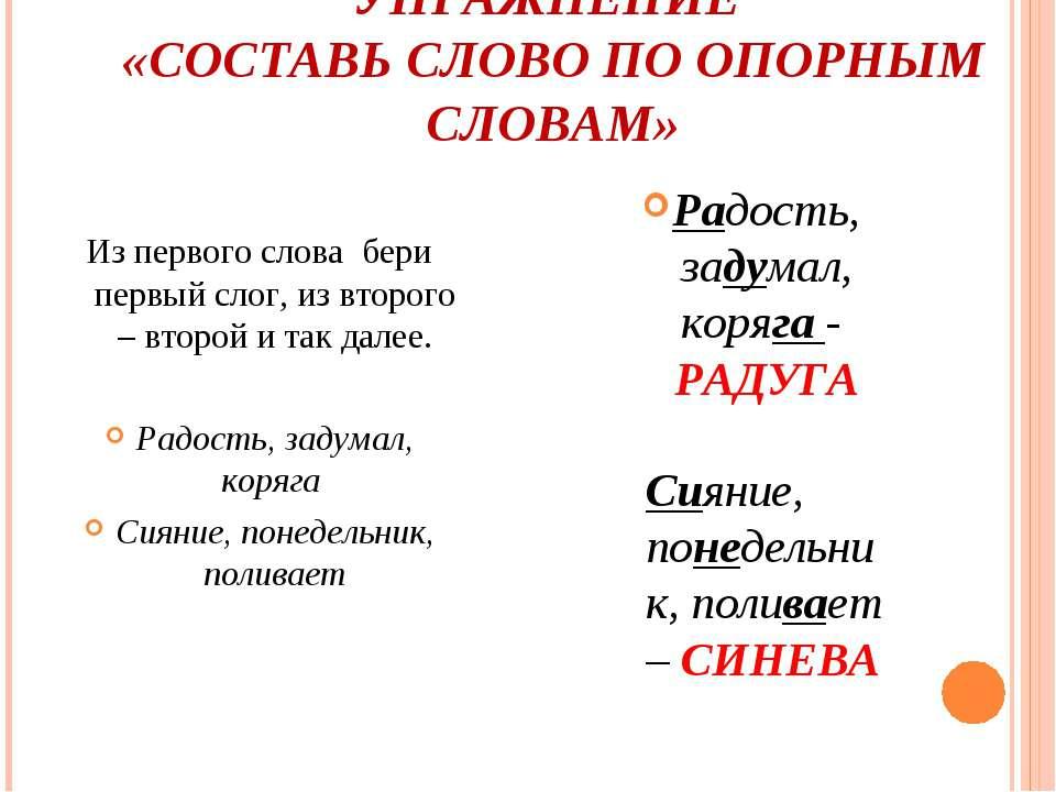 УПРАЖНЕНИЕ «СОСТАВЬ СЛОВО ПО ОПОРНЫМ СЛОВАМ» Из первого слова бери первый сло...