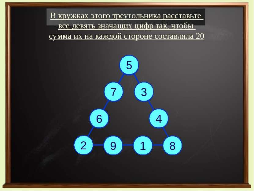 В кружках этого треугольника расставьте все девять значащих цифр так, чтобы с...