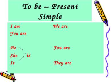 To be – Present Simple I am We are You are He You are She is It They are