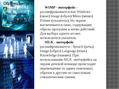 WIMP - интерфейс - расшифровывается как Windows (окно) Image (образ) Menu (ме...