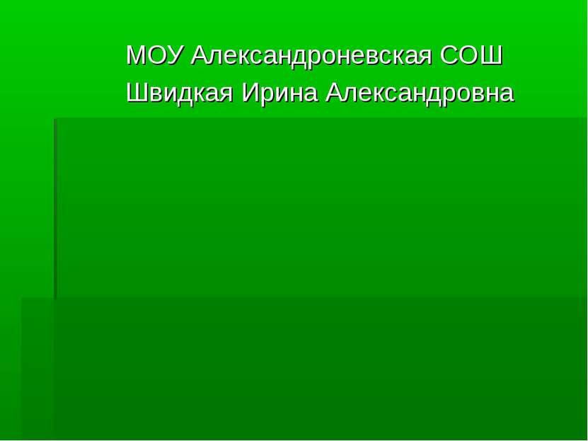 МОУ Александроневская СОШ Швидкая Ирина Александровна