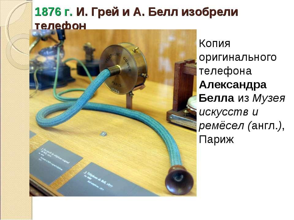 1876 г. И. Грей и А. Белл изобрели телефон Копия оригинального телефона Алекс...