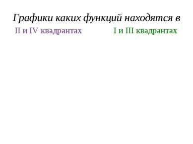 Графики каких функций находятся в у = 2х у = -5х I и III квадрантах II и IV к...
