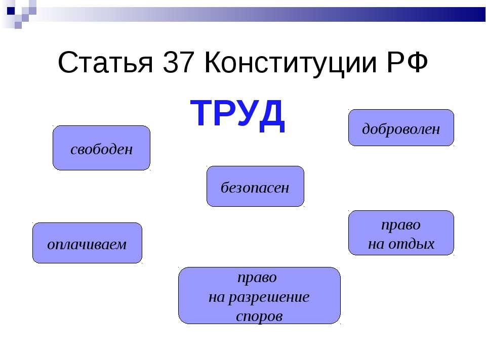 Статья 37 Конституции РФ свободен оплачиваем право на разрешение споров безоп...