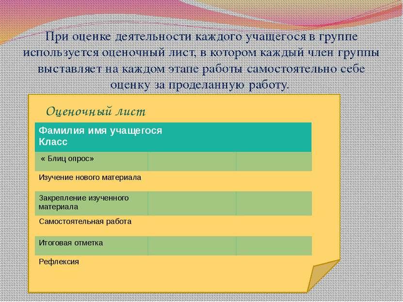 При оценке деятельности каждого учащегося в группе используется оценочный лис...