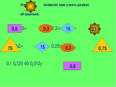 0,5= 2,2= см 0,2= 0,25= 0,1 0,125 40 0,012= 0,6 0,6 75 0,75 15 15 0,3 0,3 ● ●...
