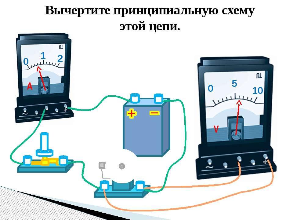 Вычертите принципиальную схему этой цепи. 0 1 2 A 0 5 10 V