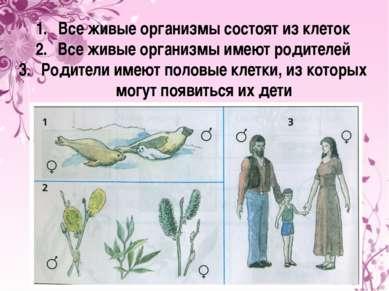 Все живые организмы состоят из клеток Все живые организмы имеют родителей Род...