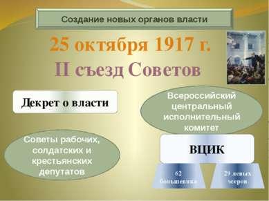 Создание новых органов власти Декрет о власти Советы рабочих, солдатских и кр...