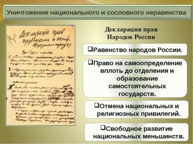 Уничтожение национального и сословного неравенства Декларация прав Народов Ро...