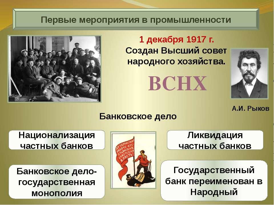 Первые мероприятия в промышленности А.И. Рыков 1 декабря 1917 г. Создан Высши...