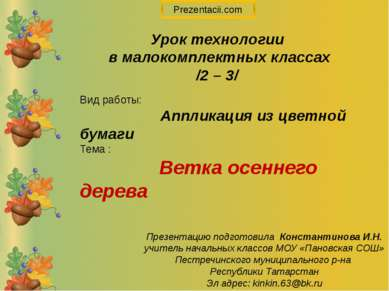 Вид работы: Аппликация из цветной бумаги Тема : Ветка осеннего дерева Урок те...