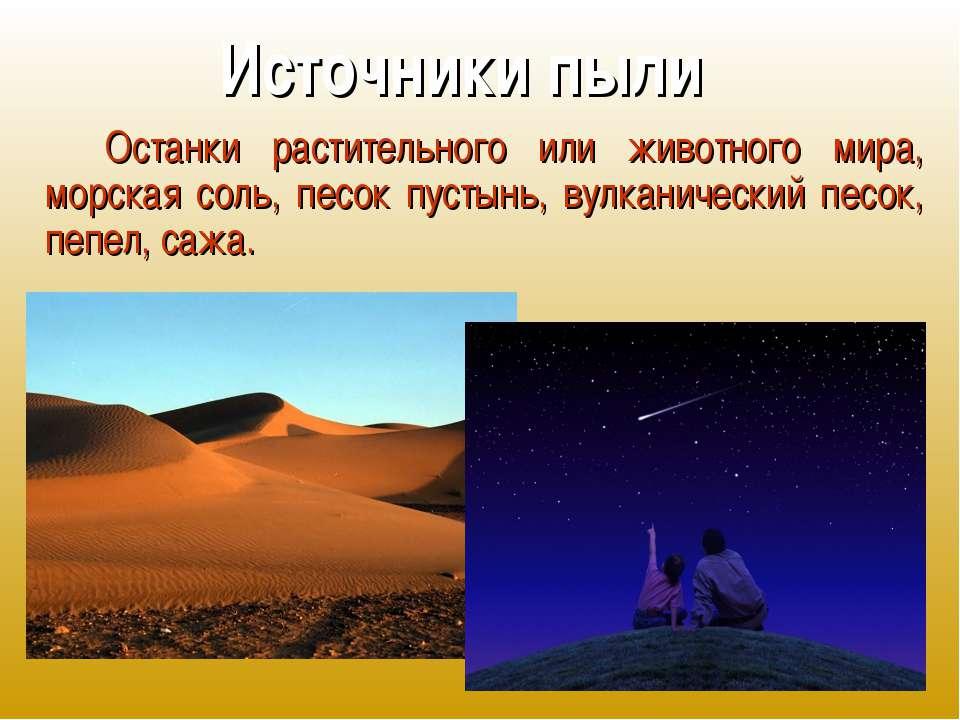 Источники пыли Останки растительного или животного мира, морская соль, песок ...