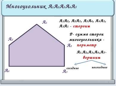 А1 А2 А3 А4 А5 Многоугольник А1А2А3А4А5 А1А2, А2А3, А3А4, А4А5, А5А1 - сторон...