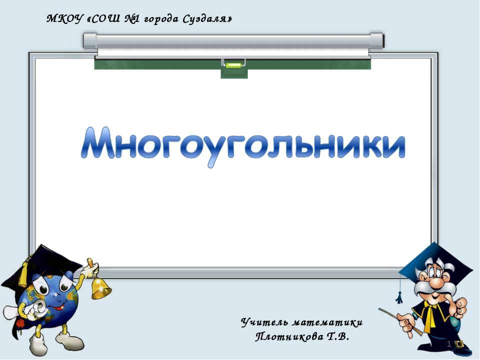 МКОУ «СОШ №1 города Суздаля» Учитель математики Плотникова Т.В. *