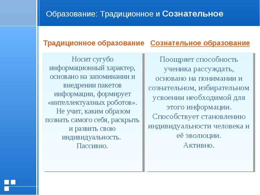 Образование: Традиционное и Сознательное Традиционное образование Сознательно...