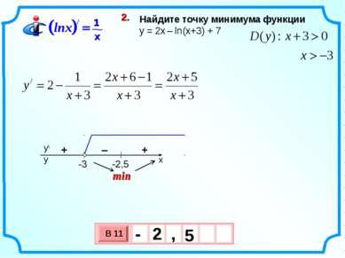 Найдите точку минимума функции y = 2х – ln(x+3) + 7 2. min