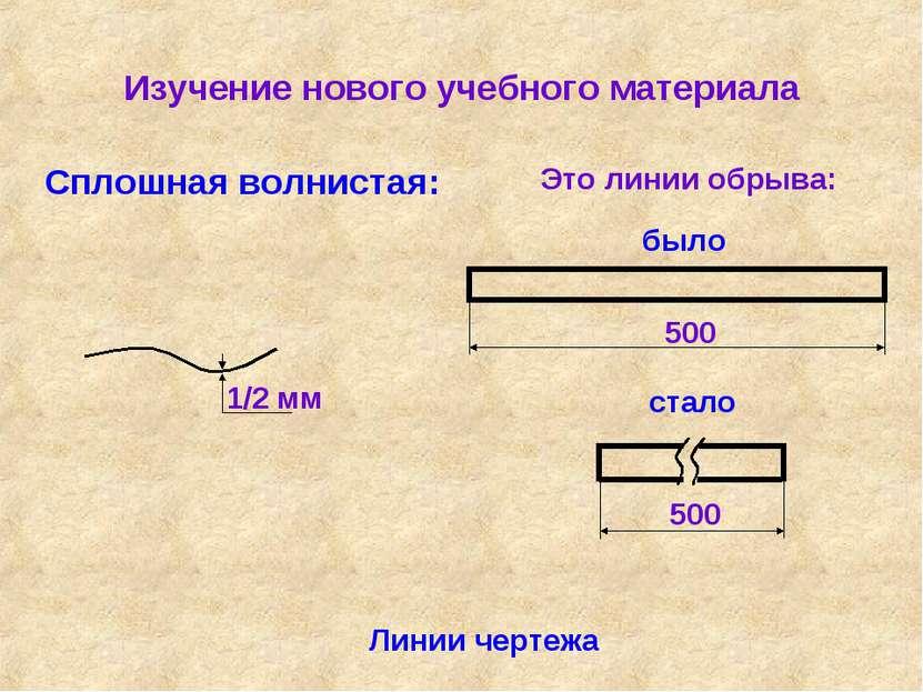 Изучение нового учебного материала Линии чертежа Сплошная волнистая: Это лини...