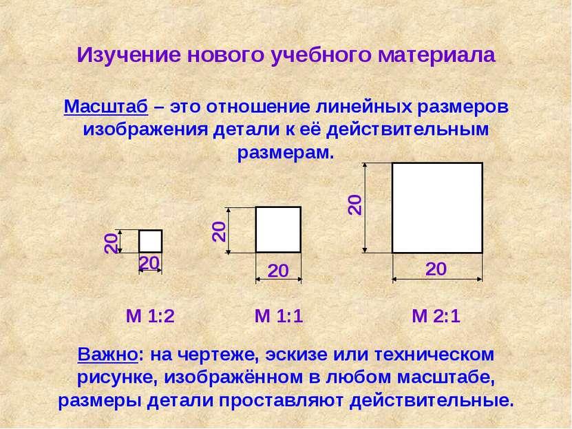 Изучение нового учебного материала Масштаб – это отношение линейных размеров ...