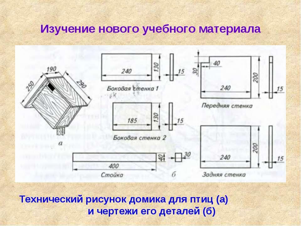 Изучение нового учебного материала Технический рисунок домика для птиц (а) и ...