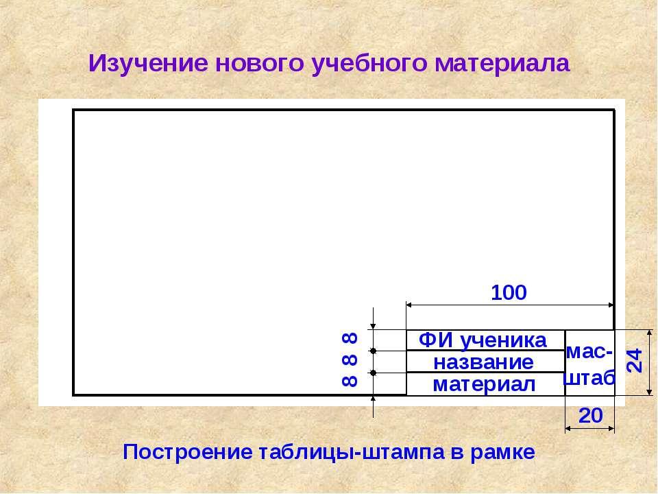 Изучение нового учебного материала Построение таблицы-штампа в рамке 100 24 2...