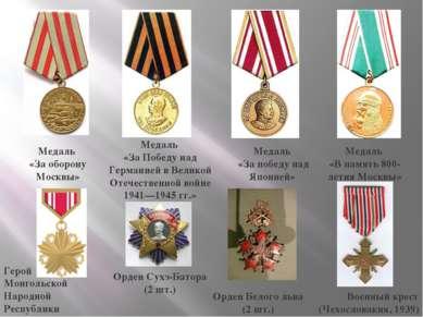 Медаль «За оборону Москвы» Медаль «За Победу над Германией в Великой Отечеств...