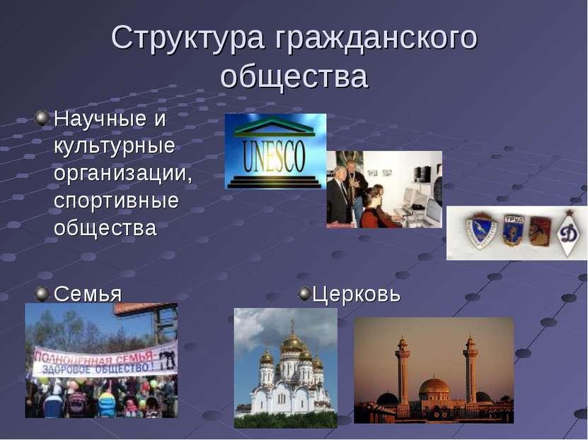 Структура гражданского общества Научные и культурные организации, спортивные ...