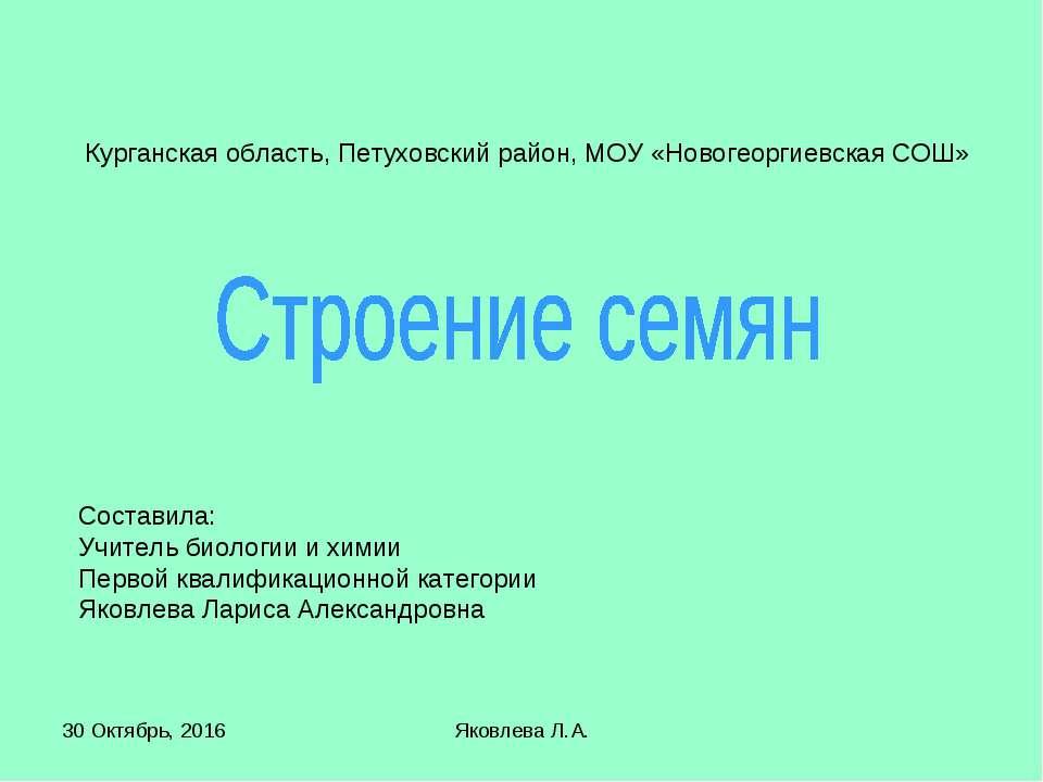 * Яковлева Л.А. Курганская область, Петуховский район, МОУ «Новогеоргиевская ...