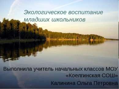 Экологическое воспитание младших школьников Выполнила учитель начальных класс...