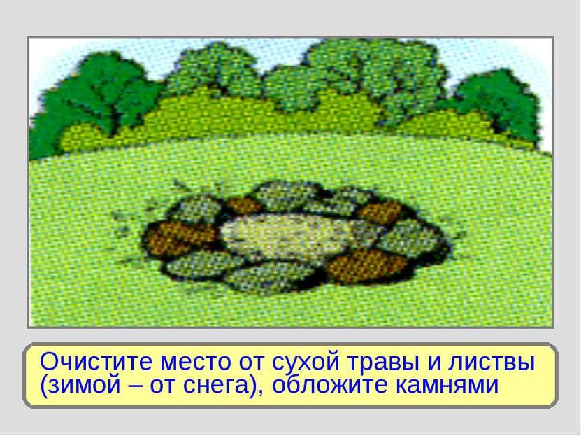 Очистите место от сухой травы и листвы (зимой – от снега), обложите камнями