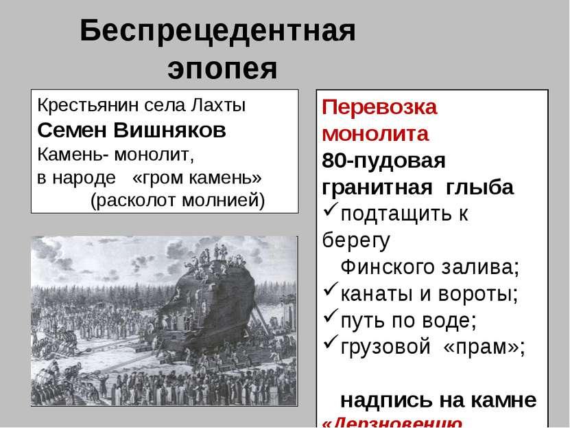 Беспрецедентная эпопея Крестьянин села Лахты Семен Вишняков Камень- монолит, ...