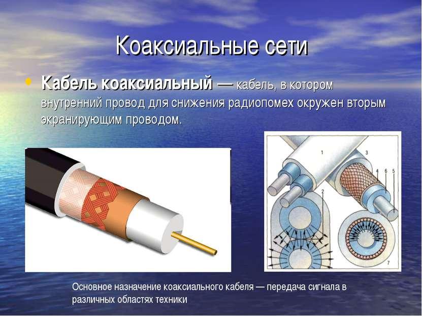 Коаксиальные сети Кабель коаксиальный — кабель, в котором внутренний провод д...
