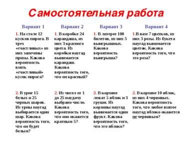 Самостоятельная работа Вариант 1 Вариант 2 Вариант 3 Вариант 4 1. На столе 12...