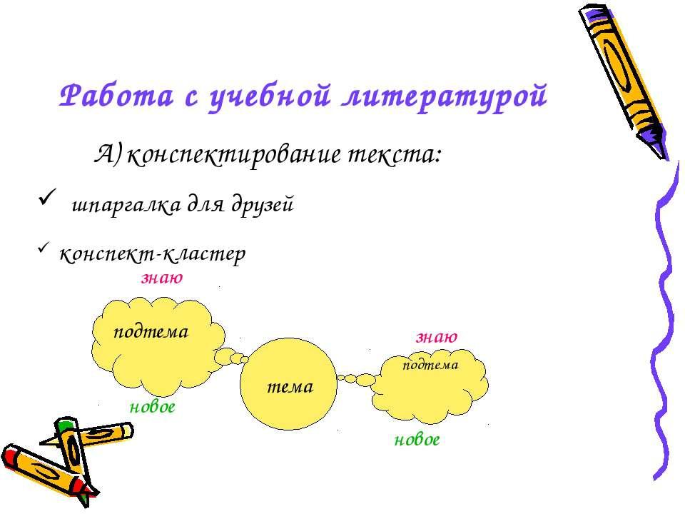 Работа с учебной литературой А) конспектирование текста: шпаргалка для друзей...
