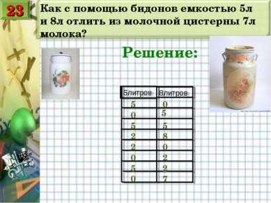 Как с помощью бидонов емкостью 5л и 8л отлить из молочной цистерны 7л молока?...