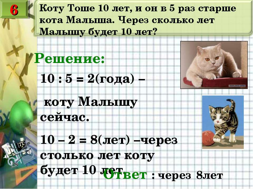 Коту Тоше 10 лет, и он в 5 раз старше кота Малыша. Через сколько лет Малышу б...