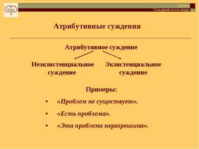 Атрибутивные суждения Логика Суждение и его виды Атрибутивное суждение Неэкзи...