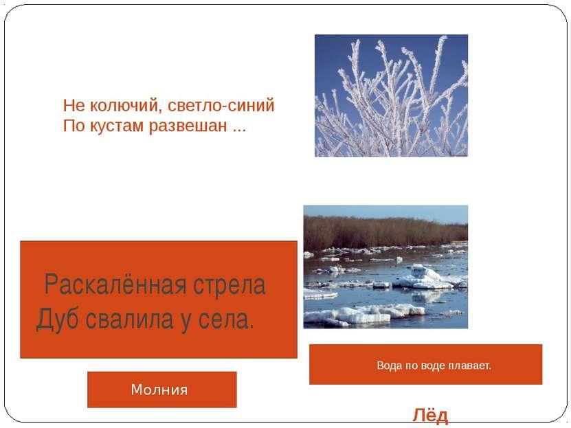 Не колючий, светло-синий По кустам развешан ... Лёд Иней Вода по воде плава...