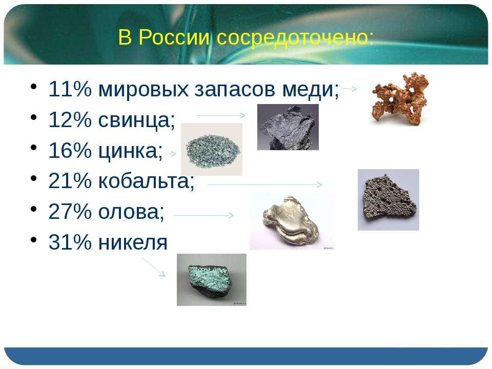 В России сосредоточено: 11% мировых запасов меди; 12% свинца; 16% цинка; 21% ...